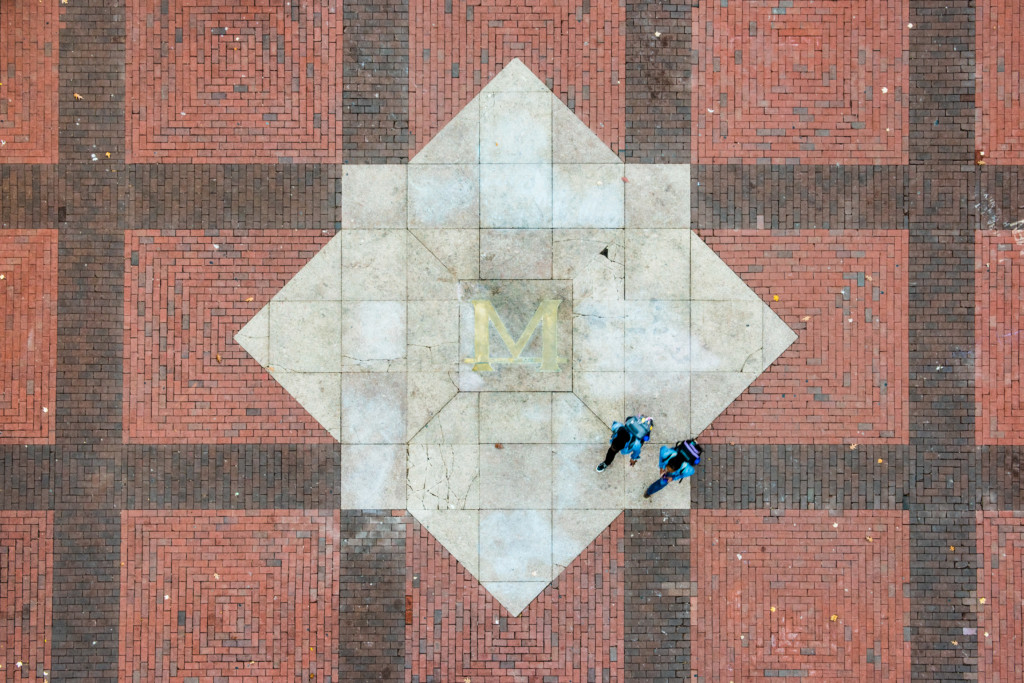 11/1/15 Images of the M on the Diag - part of Giving Blue Day promo.