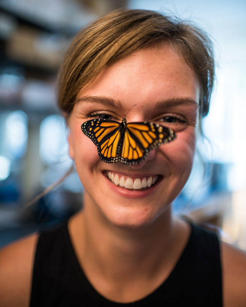 Leslie Decker and her monarch butterflies in the lab. Photo by Austin Thomason